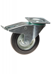 Pressed Steel Swivel Castor, With Brake