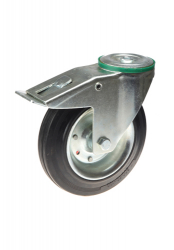Pressed Steel Swivel Castor, Threaded Guard With Brake